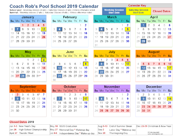 Coach Rob's Pool School Sessions Calendar